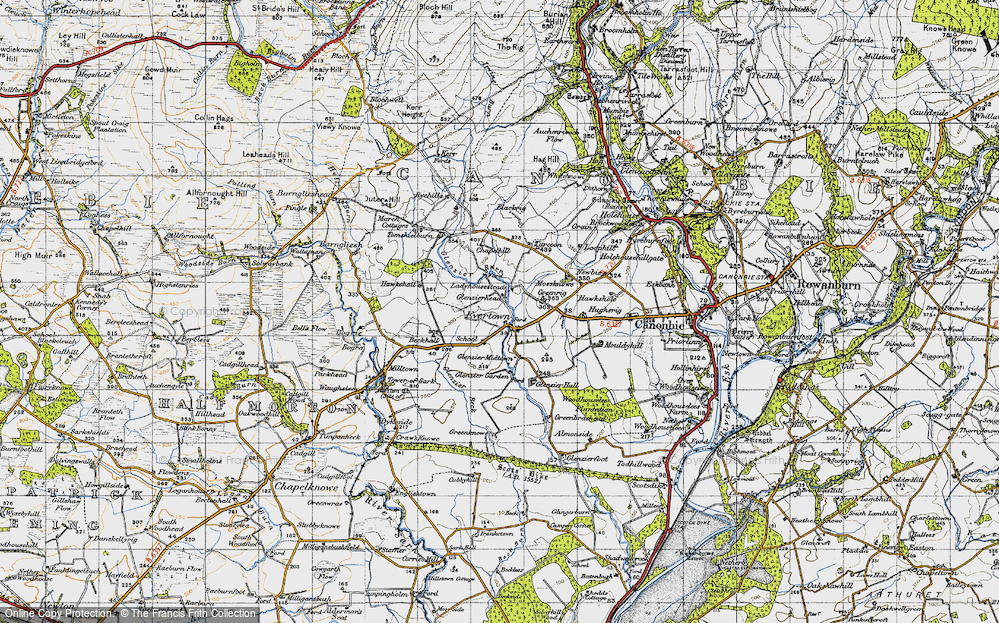 Old Map of Historic Map covering Almonside in 1947
