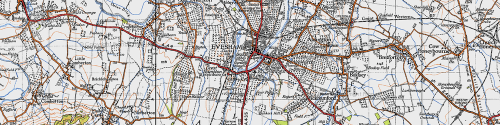Old map of Evesham in 1946