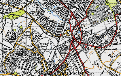 Old map of Ewell in 1945