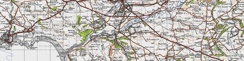 Old map of Ewenny in 1947