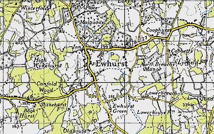 Old map of Ewhurst in 1940