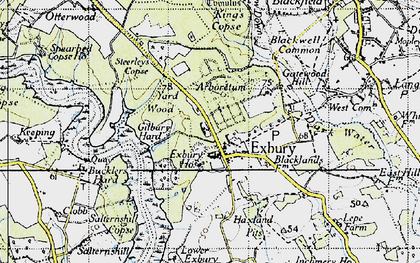 Old map of Exbury in 1945
