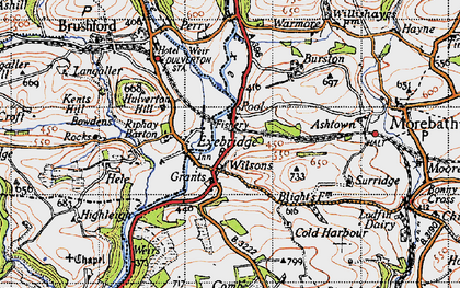 Old map of Exebridge in 1946