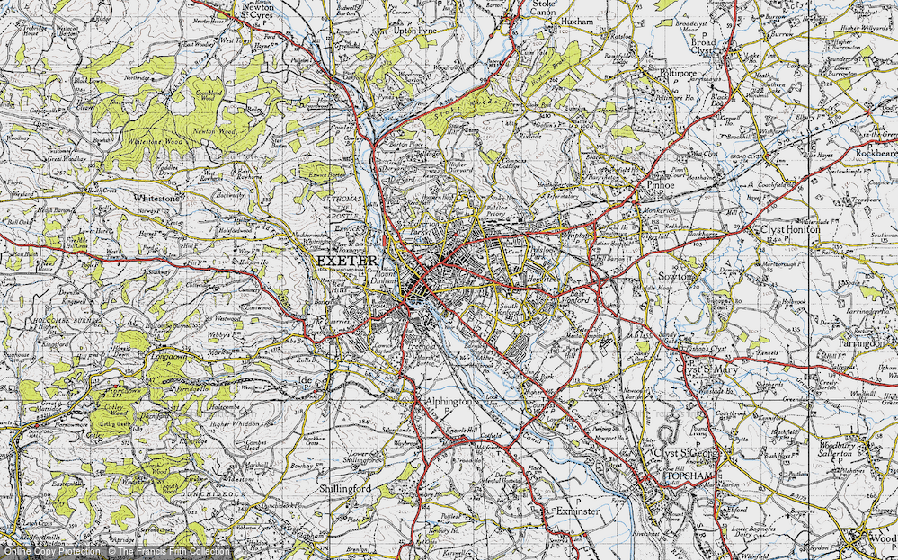 Old Map of Exeter, 1946 in 1946