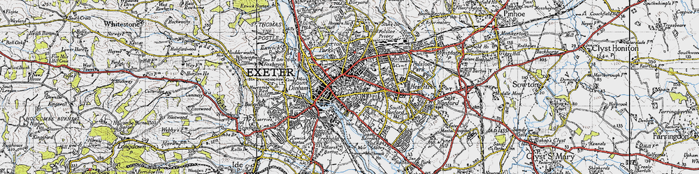 Old map of Exeter in 1946