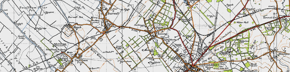 Old map of Exning in 1946