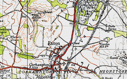 Old map of Winters Down in 1945