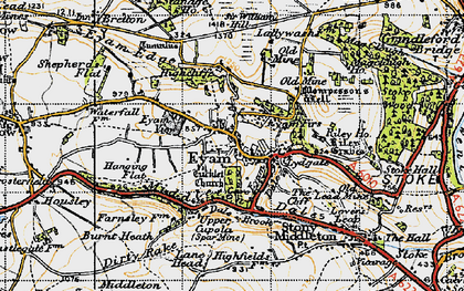 Old map of Eyam in 1947