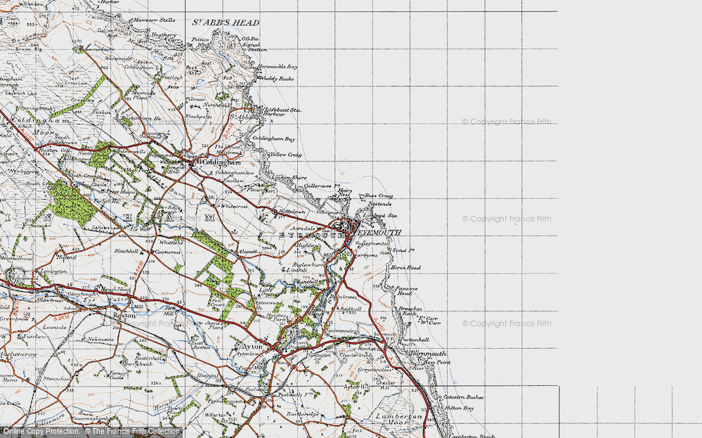 Old Map of Historic Map covering Acredale in 1947