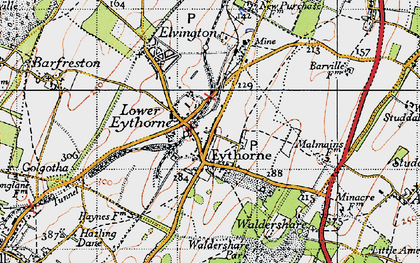 Old map of Eythorne in 1947