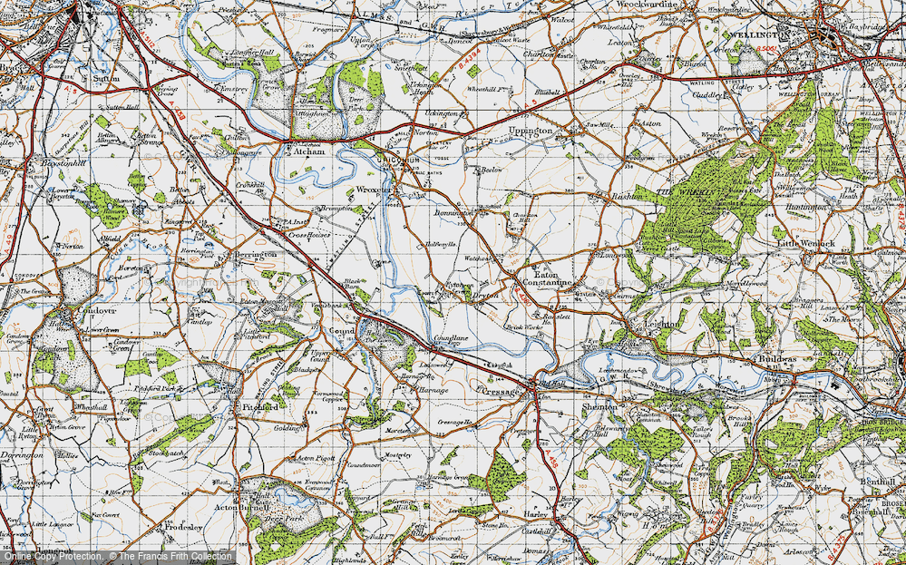 Old Map of Historic Map covering Shropshire in 1947