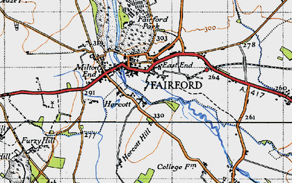 Old map of Fairford in 1947