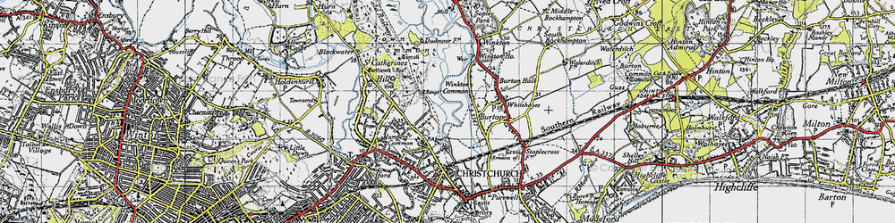 Old map of Winkton Common in 1940