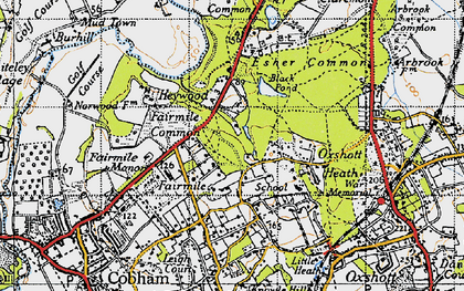 Old map of Fairmile in 1945