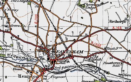 Old map of Fakenham in 1946