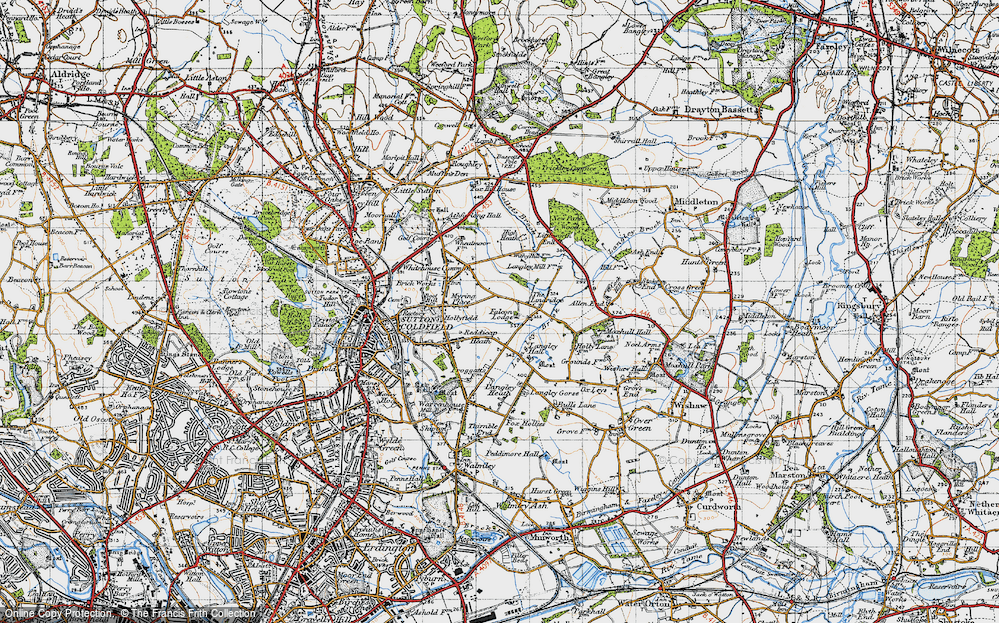 Old Map of Historic Map covering Lindridge, The in 1946