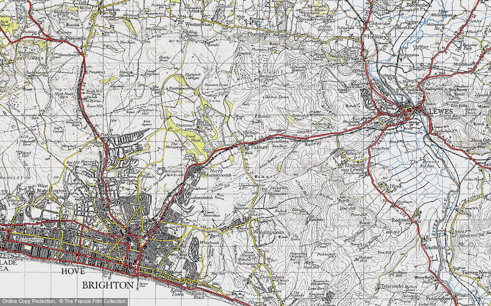 Old Map of Historic Map covering Balmer Down in 1940