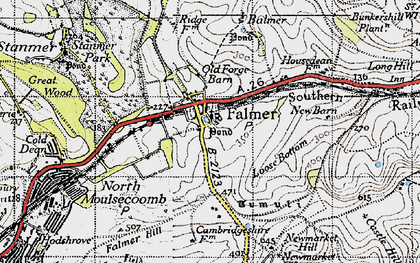 Old map of Balmer Down in 1940