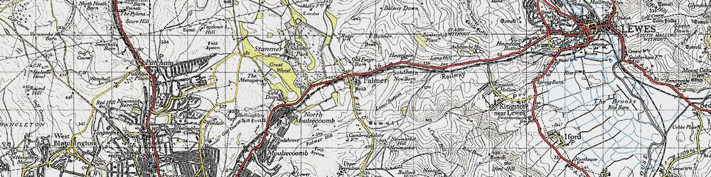 Old map of Falmer in 1940