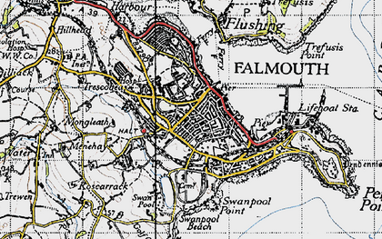 Old map of Falmouth in 1946