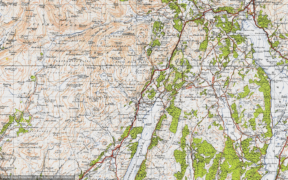 Old Map of Historic Map covering Above Beck Fells in 1947