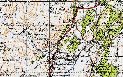 Old map of Above Beck Fells in 1947