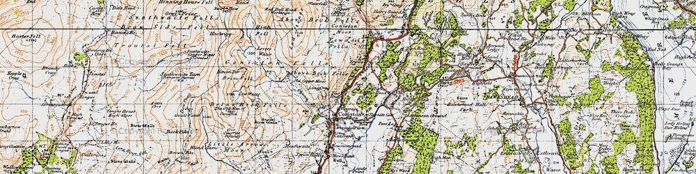 Old map of Levers Water in 1947