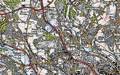 Old map of Far Headingley in 1947