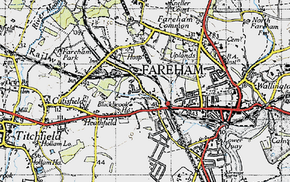 Old map of Fareham in 1945