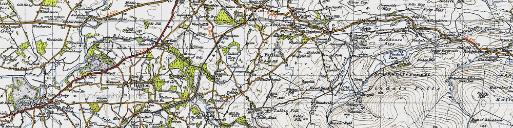 Old map of Whinney Fell in 1947