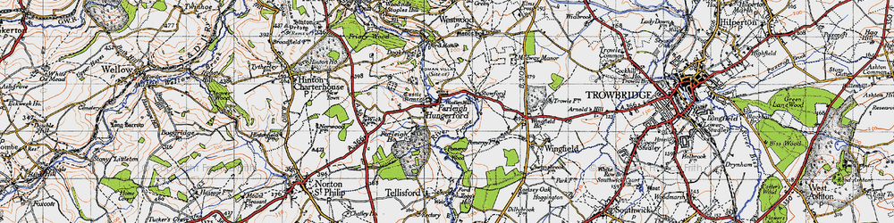 Old map of Farleigh Hungerford in 1946