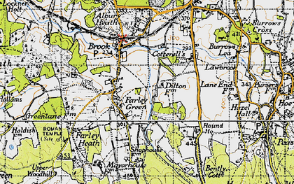 Old map of Farley Green in 1940