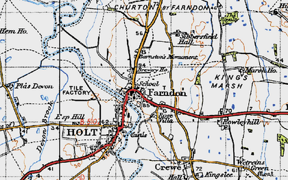 Old map of Farndon in 1947