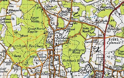 Old map of Farnham Common in 1945