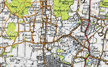 Old map of Farnham Royal in 1945