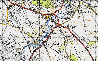 Old map of Farningham in 1946