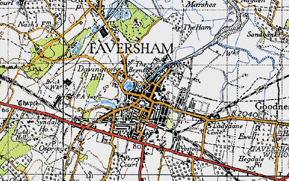 Old map of Faversham in 1946