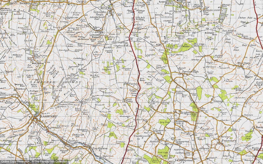 Old Map of Historic Map covering Lattin Down in 1947
