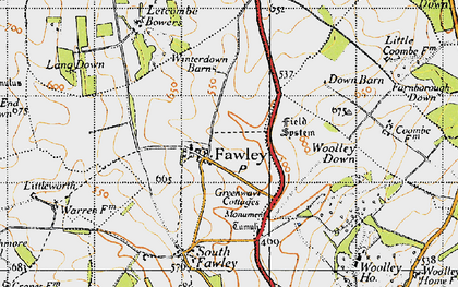 Old map of Woolley Down in 1947
