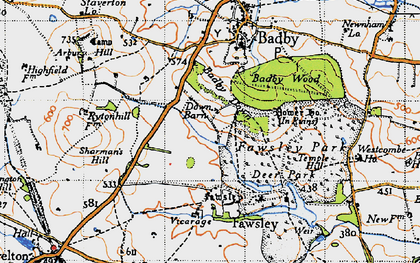 Old map of Badby Down in 1946