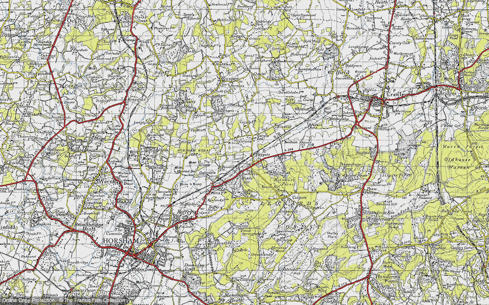 Old Map of Historic Map covering Middle Hill in 1940