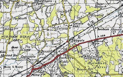 Old map of Faygate in 1940