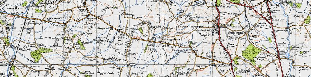 Old map of Feckenham in 1947