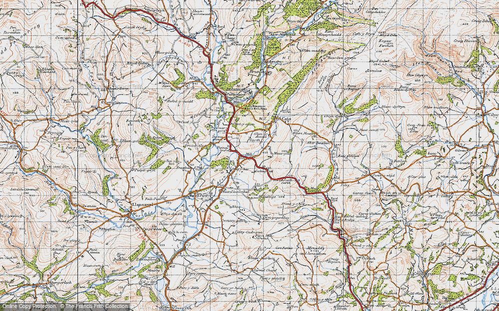 Old Map of Historic Map covering Ynysau-isaf in 1947
