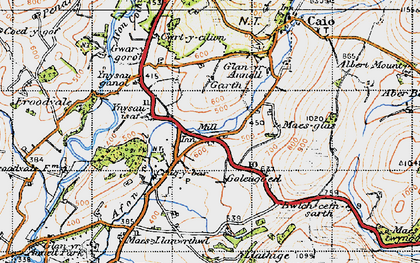 Old map of Ynysau-isaf in 1947