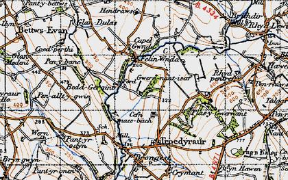 Old map of Afon Ceri in 1947