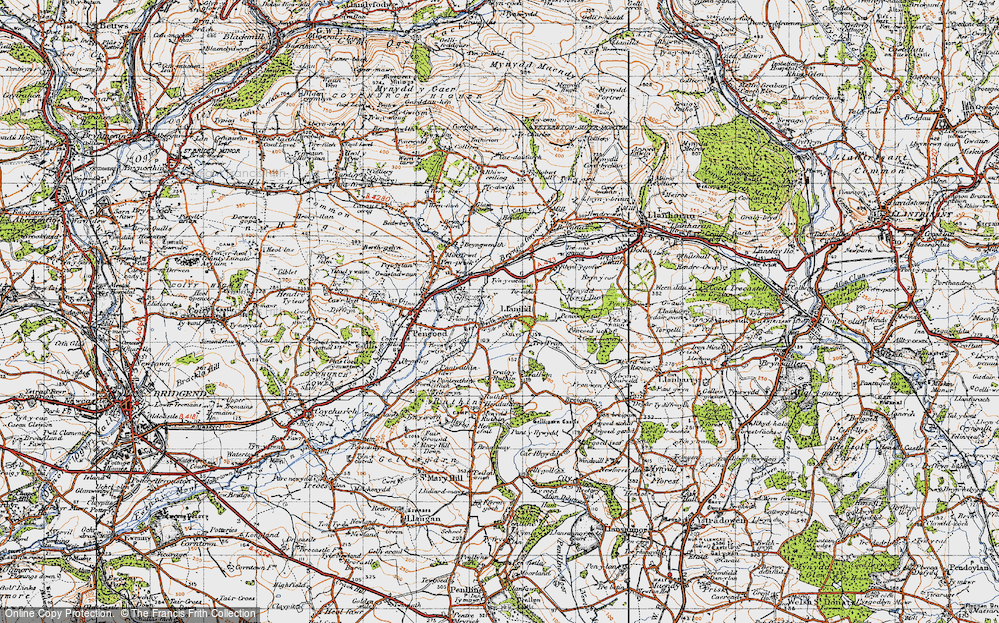 Old Map of Historic Map covering Llanilid in 1947