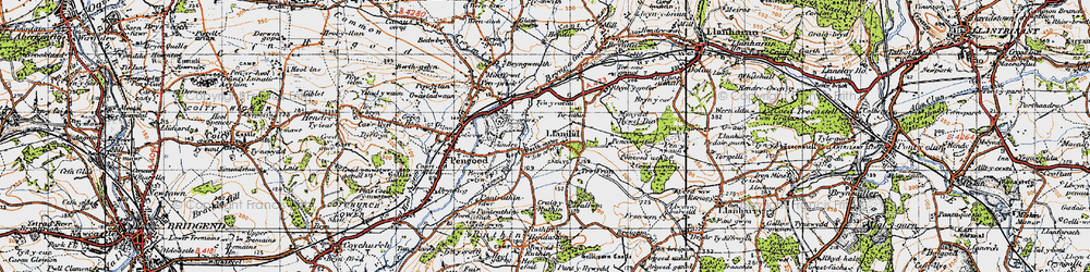 Old map of Llanilid in 1947