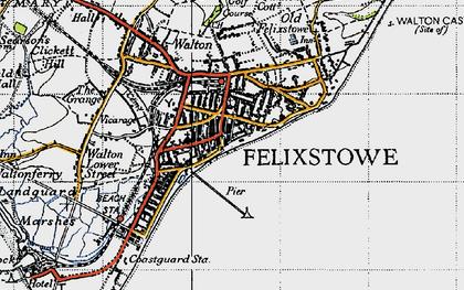 Old map of Felixstowe in 1946
