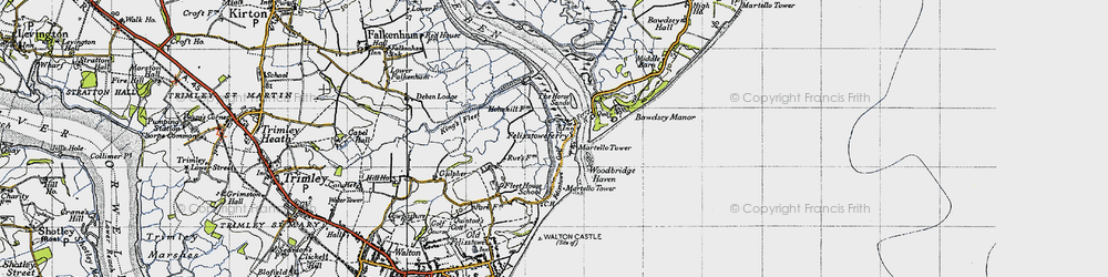 Old map of Woodbridge Haven in 1946